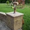 Lighting posts all built with stamped concrete.